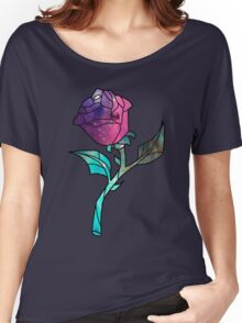 Stained Glass Rose Galaxy Women's Relaxed Fit T-Shirt