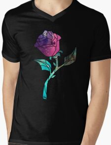 Stained Glass Rose Galaxy Mens V-Neck T-Shirt