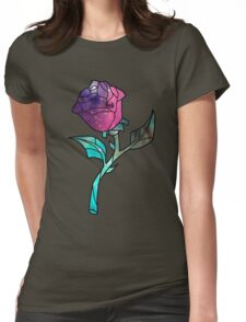 Stained Glass Rose Galaxy Womens Fitted T-Shirt