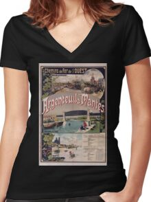 Gustave Fraipont Argenteuil Mantes affiche Chemins de fer Women's Fitted V-Neck T-Shirt