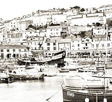 Brixham Harbour in Cepia by missmoneypenny