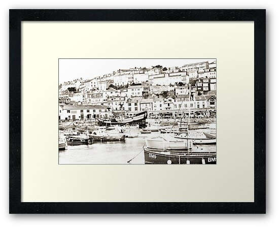 Brixham Harbour in Sepia by missmoneypenny