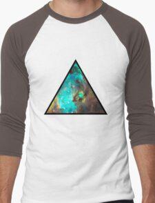 Green Galaxy Triangle Men's Baseball ¾ T-Shirt