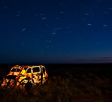 The old watcher - Twilight near Winton, outback QLD by Les Pink