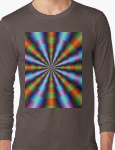 Orange Green Blue and Violet Pleats Long Sleeve T-Shirt