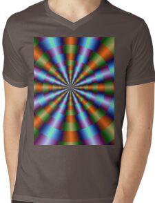 Orange Green Blue and Violet Pleats Mens V-Neck T-Shirt