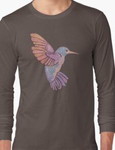 hummingbird doodle mandala boho pastel cute tattoo animal Long Sleeve T-Shirt