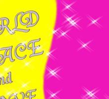 world peace txt,heart,unicorn Sticker
