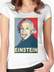 Albert Einstein Portrait pulling tongue Campaign Design  Women's Fitted Scoop T-Shirt