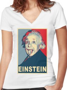 Albert Einstein Portrait pulling tongue Campaign Design  Women's Fitted V-Neck T-Shirt