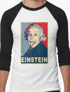 Albert Einstein Portrait pulling tongue Campaign Design  Men's Baseball ¾ T-Shirt