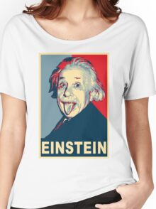 Albert Einstein Portrait pulling tongue Campaign Design  Women's Relaxed Fit T-Shirt