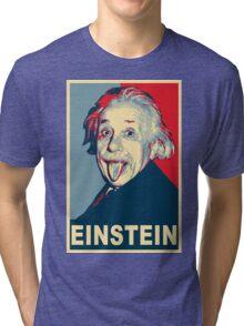 Albert Einstein Portrait pulling tongue Campaign Design  Tri-blend T-Shirt