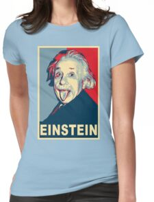 Albert Einstein Portrait pulling tongue Campaign Design  Womens Fitted T-Shirt