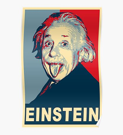 Albert Einstein Portrait pulling tongue Campaign Design  Poster