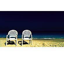 dos sillas blancas enmedio del mar Photographic Print
