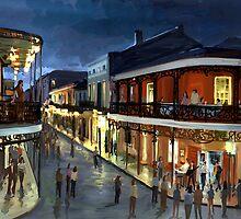 Bourbon Street at night by twhiteart
