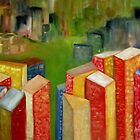 Colorful abstract cityscape landscape by Patricia Cleasby
