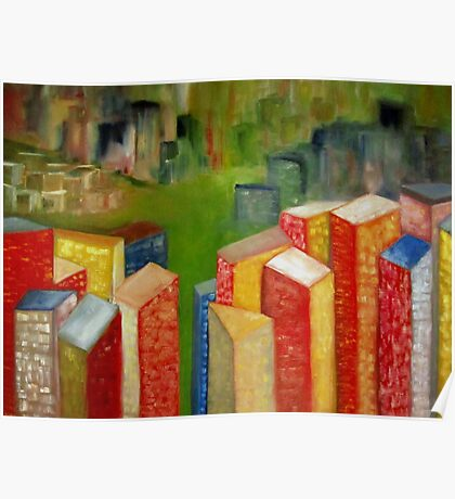 Colorful abstract cityscape landscape Poster