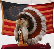 Old US Flag and Headdress by Deborah  Benoit