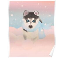 Husky Puppy in Snow Poster