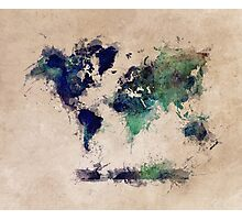 World map blue splash Photographic Print
