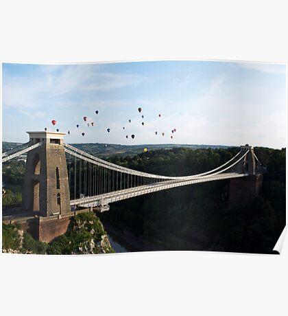 Balloons over the Clifton Suspension Bridge Poster