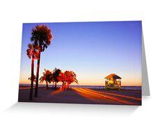 Miami South Beach sunset with lifeguard tower, Florida, USA Greeting Card