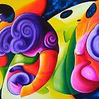 """""""Bailando en el Espacio"""" colourful abstract oil painting by James  Knowles"""