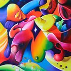 """Preconceptions"" - colorful abstract expressionistic oil painting by James  Knowles"