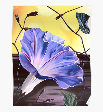 """""""Morning Glory"""" - oil painting of a purple-blue trumpet shaped flower Poster"""