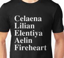 Celaena, Lilian, Elentiya, Aelin, Fireheart Unisex T-Shirt