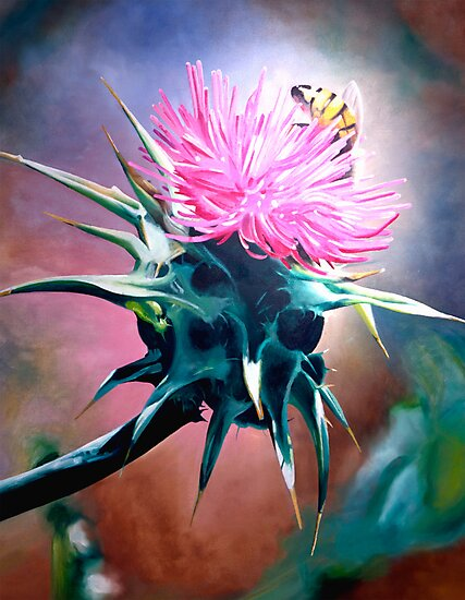 """""""Milk Thistle""""- oil painting of a pink thistle with a bee by James  Knowles"""