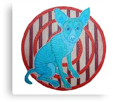 Retro Blue Dog Canvas Print