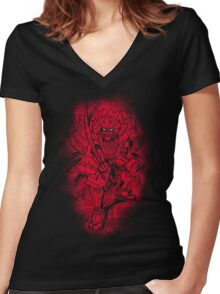 Red Warrior Women's Fitted V-Neck T-Shirt