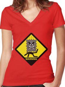 Crushing Hazard sign Women's Fitted V-Neck T-Shirt