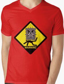 Crushing Hazard sign Mens V-Neck T-Shirt