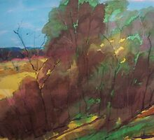 Merging colours on silk - trees - Kilmore Vic Australia by Margaret Morgan (Watkins)