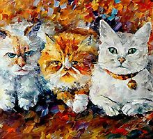 Kittens - original oil painting on canvas by Leonid Afremov by Leonid  Afremov
