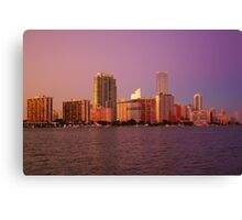 Miami Florida, colourful sunset panorama of downtown business and residential buildings Canvas Print
