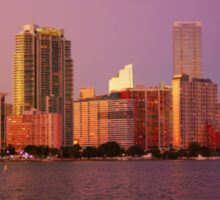 Miami Florida, colourful sunset panorama of downtown business and residential buildings Sticker