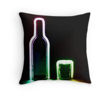 Rainbow Bottle and Glass Throw Pillow