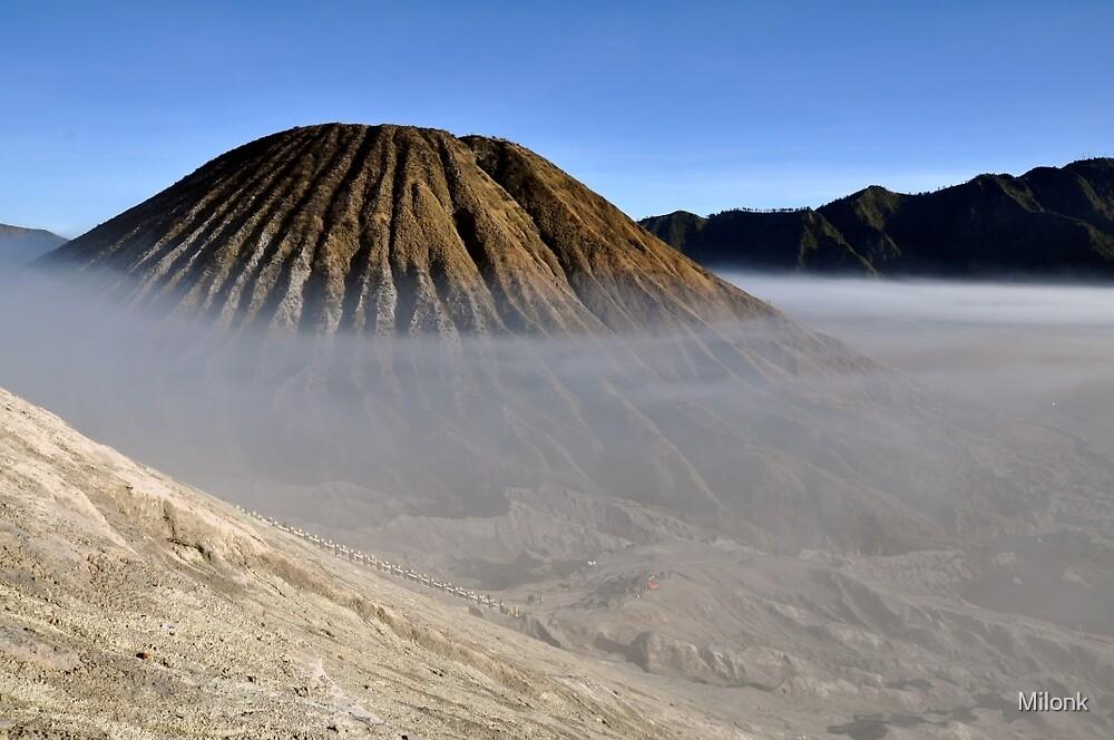 Gunung Bromo valley in fog by Milonk