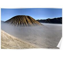 Gunung Bromo valley in fog Poster