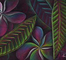 Frangipanis on black by Karin Zeller