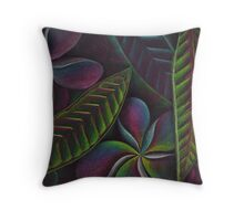 Frangipanis on black Throw Pillow