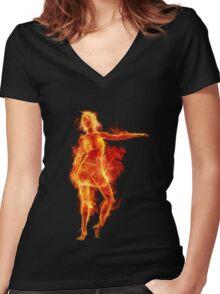 FIRE GIRL Women's Fitted V-Neck T-Shirt