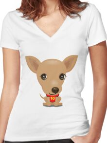 My puppy Women's Fitted V-Neck T-Shirt