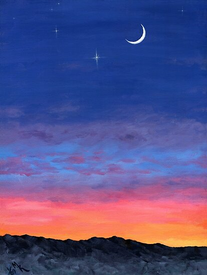 Day To Night Moonlit Sunset by yarddawg