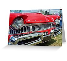 restored red ford mercury Greeting Card